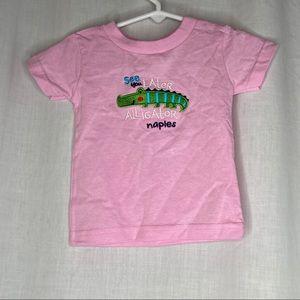 Naples Beach Florida T-Shirt Pink Embroidered 6mon